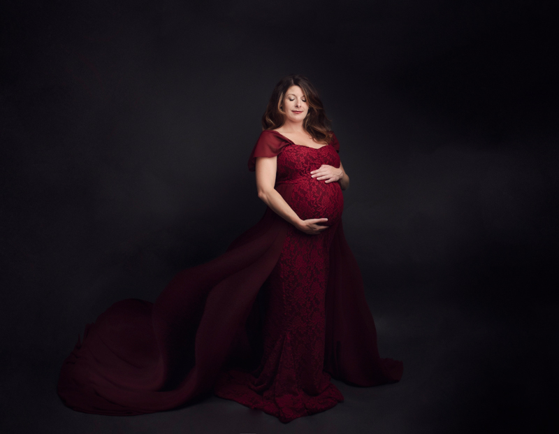 grand rapids michigan fine art maternity photography red gown