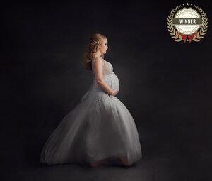 grand rapids michigan fine art maternity photographer woman in an elegant grey dress