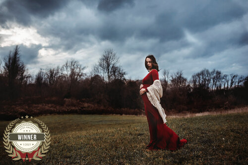 grand rapids maternity photo shoot women in red dress outdoors
